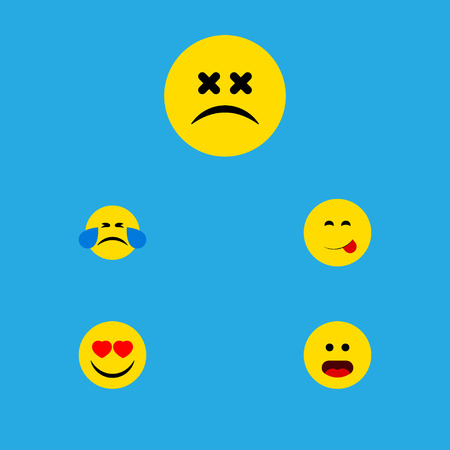 Flat Icon Emoji Set Of Cold Sweat, Love, Cross-Eyed Face And Other Vector Objects. Also Includes Smile, Dizzy, Food Elements.