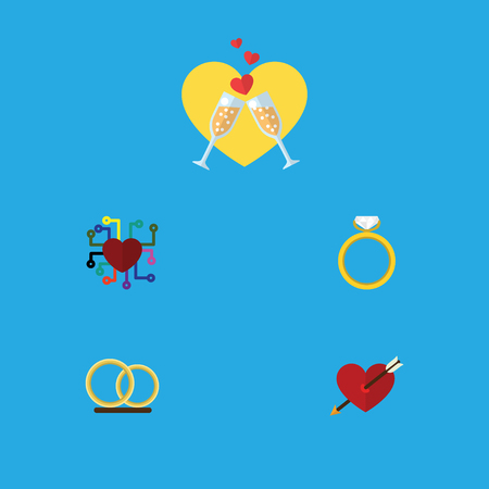 Flat Icon Heart Set Of Celebration, Ring, Heart And Other Vector Objects. Also Includes Heart, Engagement, Emotion Elements.