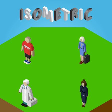 Isometric Person Set Of Businesswoman, Medic, Hostess And Other Vector Objects. Also Includes Businesswoman, Hostess, Hospital Elements. Illustration