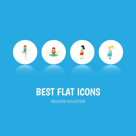 Flat Icon Pregnancy Set Of Mother, Meditation, Pregnant Woman And Other Vector Objects