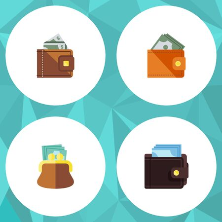 billfold: Flat Icon Billfold Set Of Pouch, Billfold, Finance And Other Vector Objects. Also Includes Money, Finance, Payment Elements.