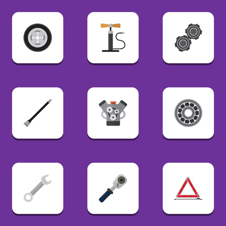 metal structure: Flat Icon Workshop Set Of Wheel Pump, Spanner, Warning And Other Vector Objects. Also Includes Coupler, Car, Warning Elements. Illustration