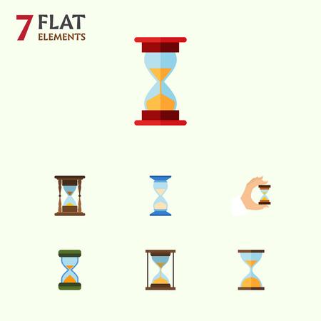 Icona piana clessidra Set di caricamento, clessidra, attesa e altri oggetti vettoriali. Include anche timer, sabbia, strumenti. Archivio Fotografico - 86151426