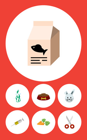 Flat Icon Animal Set Of Root Vegetable, Vaccine, Seaweed And Other Vector Objects. Also Includes Medicine, Water, Clippers Elements.
