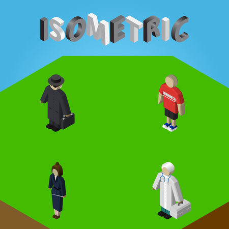 Isometric Human Set Of Guy, Detective, Medic And Other Vector Objects. Also Includes Medic, Police, Hospital Elements.