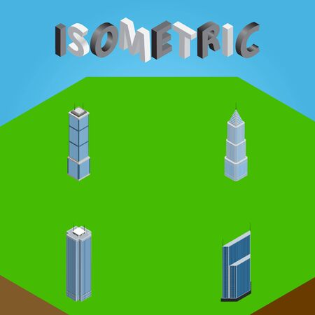 Isometric Building Set Of Residential, Buildings, Apartment And Other Objects Includes Residential, Tower, Apartment Elements.