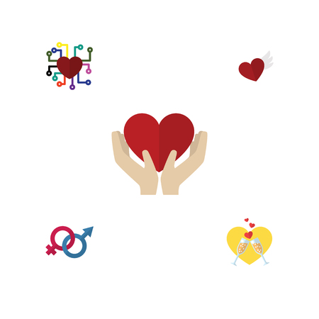Flat Icon Heart Set Of Emotion, Save Love, Wings And Other Objects Includes Feeling, Gender, Celebration Elements. Illustration
