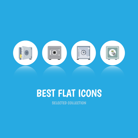 Flat Icon Strongbox Set Of Coins, Safe, Strongbox And Other Objects Includes Strongbox, Banking, Saving Elements. Illustration