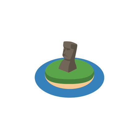Moai in an island icon. Illustration