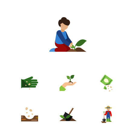 Flat Icon Sow Set Of Florist, Packet, Man And Other Objects Includes Woman, Shovel, Sowing Elements.
