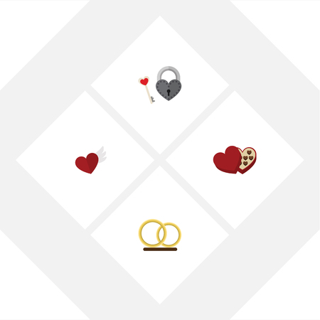pareja comiendo: Flat Icon Amour Set Of Wings, Key, Shaped Box And Other Vector Objects. Also Includes Wings, Heart, Chocolate Elements.