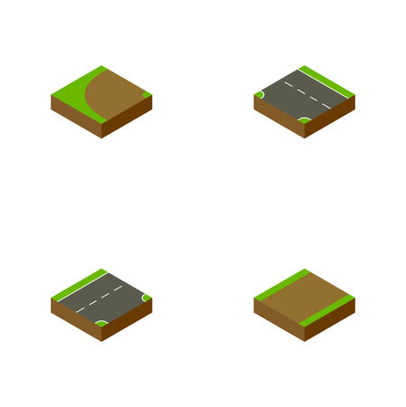 Isometric Road Set Of Down, Footpath, Turning And Other Vector Objects. Also Includes Road, Footpath, Rotation Elements. Illustration