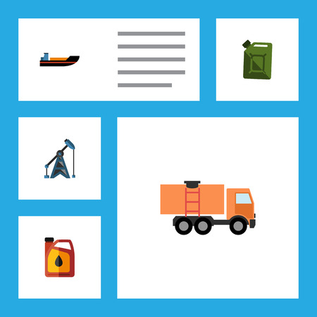 Flat Icon Oil Set Of Boat, Rig, Jerrycan And Other Vector Objects. Also Includes Rig, Ship, Fuel Elements. Illustration