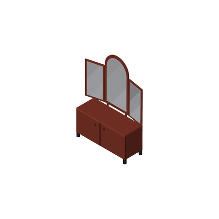 Isolated Sideboard Isometric. Drawer  Vector Element Can Be Used For Sideboard, Cupboard, Mirror Design Concept.