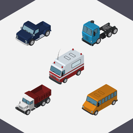 Isometric Automobile Set Of First-Aid, Freight, Suv And Other Vector Objects. Also Includes Suv, Motor, Auto Elements.