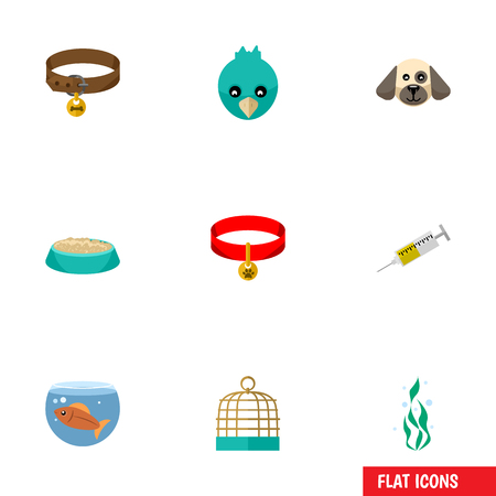Flat Icon Pets Set Of Bird Prison, Vaccine, Sparrow And Other Vector Objects. Also Includes Bird, Cat, Food Elements.