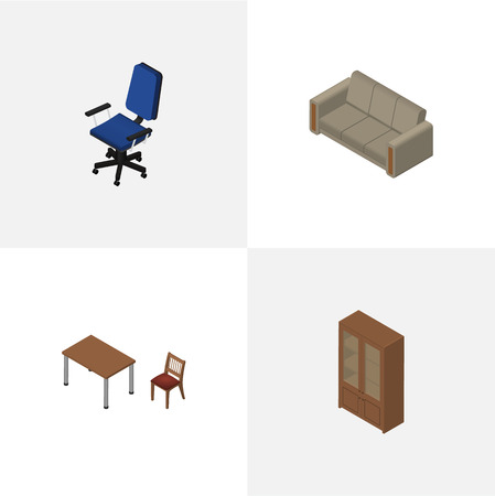 office settee. Isometric Design Set Of Cabinet, Couch, Office And Other Vector Objects. Also Includes Settee