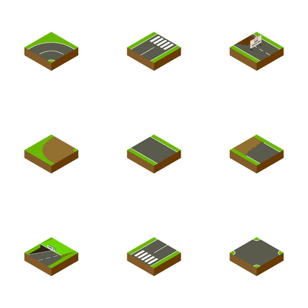 Isometric Road Set Of Subway, Footer, Crossroad And Other Vector Objects. Also Includes Pedestrian, Unilateral, Bitumen Elements. Illustration