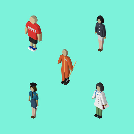 Isometric People Set Of Girl, Doctor, Cleaner And Other Vector Objects. Also Includes Medic, Laborer, Woman Elements. Illustration