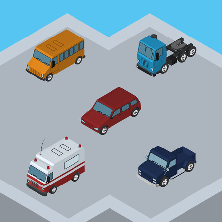 Isometric Automobile Set Of Suv, First-Aid, Truck And Other Vector Objects. Also Includes Truck, Suv, Ambulance Elements.