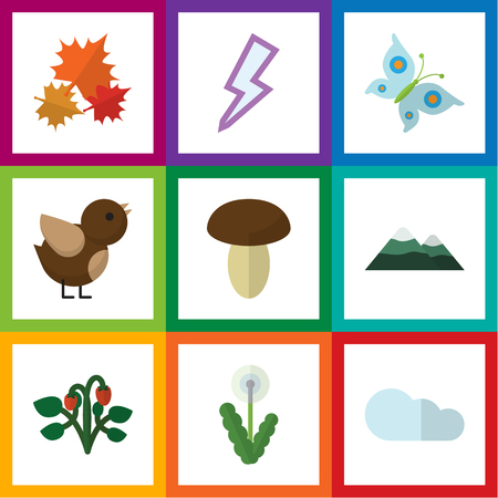 Flat Icon Bio Set Of Lightning, Floral, Peak And Other Vector Objects. Also Includes Pinnacle, Storm, Floral Elements.