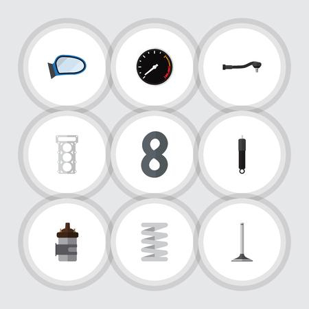 Flat Icon Component Set van auto-onderdeel, verpakking, verbranding en andere vectorobjecten. Omvat ook segment, verpakking, gezamenlijke elementen. Stock Illustratie