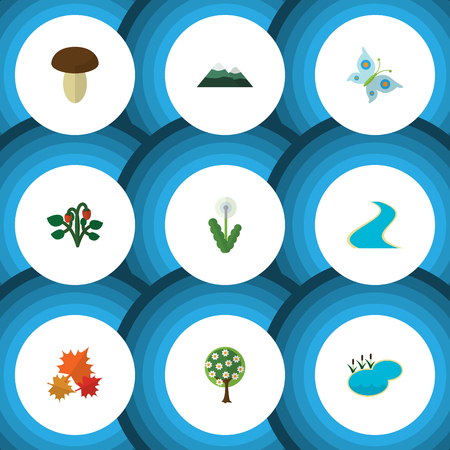 Flat Icon Bio Set Of Monarch, Floral, Pond And Other Vector Objects. Also Includes Berry, Floral, Lagoon Elements. Illustration