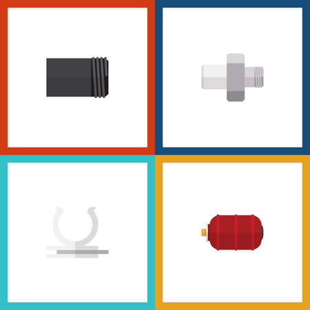 Flat Icon Industry Set Of Container, Tube, Conduit And Other Vector Objects. Also Includes Industry, Pipe, Water Elements.