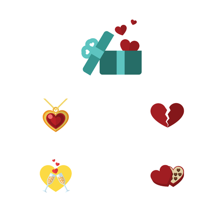 pareja comiendo: Flat Icon Amour Set Of Shaped Box, Necklace, Celebration And Other Vector Objects. Also Includes Gift, Heart, Chocolate Elements. Vectores