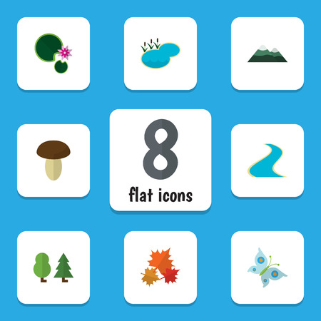 Flat Icon Nature Set Of Peak, Champignon, Pond And Other Vector Objects