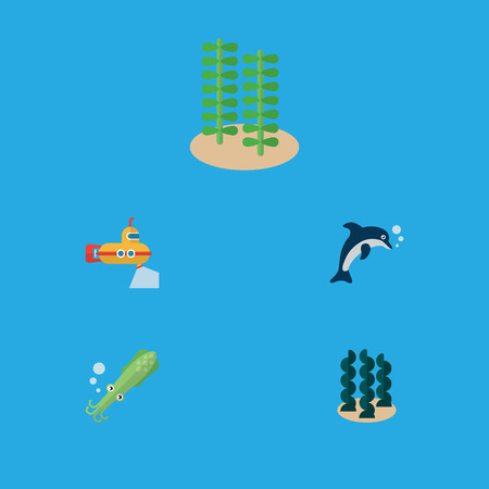 Flat Icon Sea Set Of Playful Fish, Periscope, Octopus And Other Vector Objects Illustration