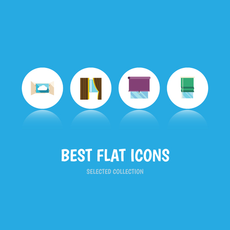 veranda: Flat Icon Window Set Of Cloud, Balcony, Glazing And Other Vector Objects Illustration
