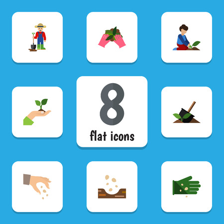 Flat Icon Sow Set Of Seed, Soil, Plant And Other Vector Objects Ilustração