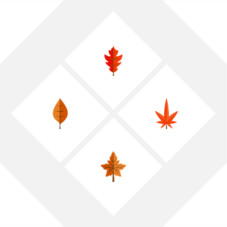 Flat Icon Maple Set Of Aspen, Frond, Foliage And Other Vector Objects Illustration