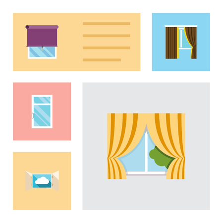 veranda: Flat Icon Frame Set Of Glass Frame, Cloud, Clean And Other Vector Objects