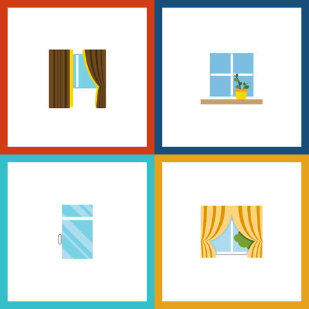 veranda: Flat Icon Frame Set Of Glass, Flowerpot, Clean And Other Vector Objects Illustration