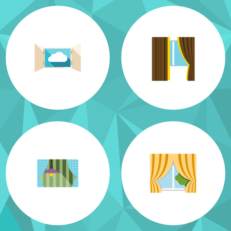 veranda: Flat Icon Frame Set Of Glass, Curtain, Glass Frame And Other Vector Objects