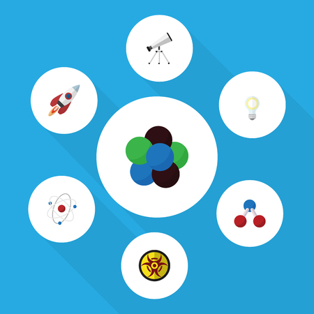 Flat Icon Study Set Of Orbit, Danger, Spaceship And Other Vector Objects. Also Includes Bulb, Risk, Water Elements.