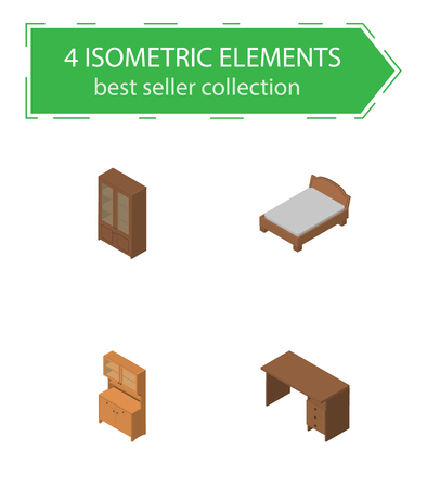 bedstead: Isometric Furniture Set Of Cupboard, Cabinet, Bedstead And Other Vector Objects Illustration