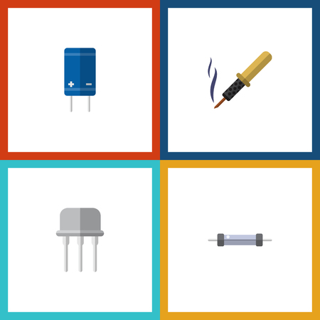 electronic components: Flat Icon Device Set Of Resist, Transistor, Repair And Other Vector Objects. Also Includes Copper, Fiildistor, Iron Elements.