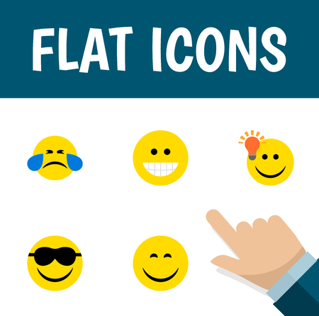 feel good: Flat Icon Expression Set Of Have An Good Opinion, Cold Sweat, Grin And Other Vector Objects Illustration