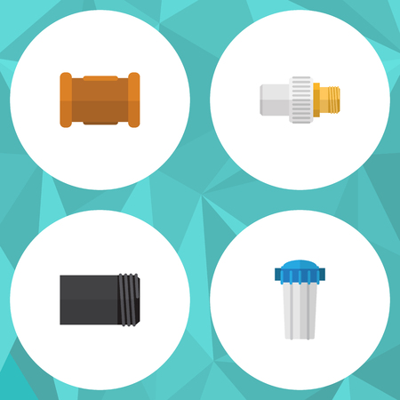 Flat Icon Sanitary Set Of Pipe, Industry, Water Filter And Other Vector Objects