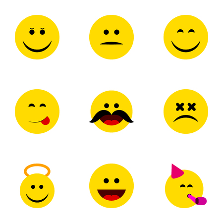 Flat Icon Emoji Set Of Laugh, Angel, Cross-Eyed Face And Other Vector Objects. Also Includes Whiskers, Dizzy, Face Elements.