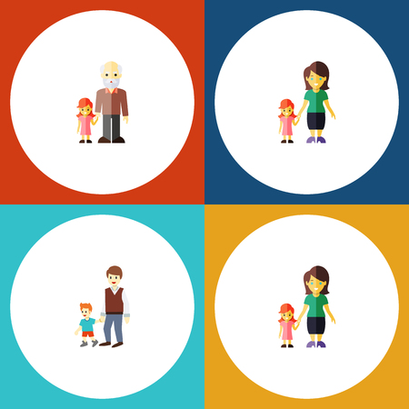 Flat Icon Family Set Of Grandpa, Boys, Daugther Vector Objects. Also Includes Boy, Brother, Son Elements.
