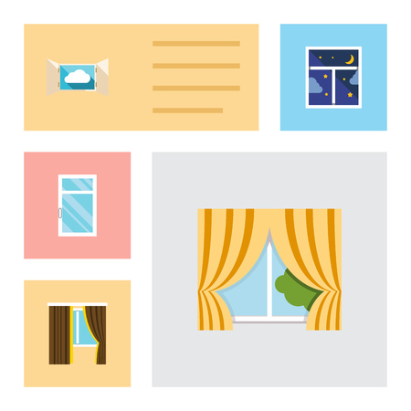 Flat Icon Window Set Of Glass Frame, Frame, Cloud And Other Vector Objects