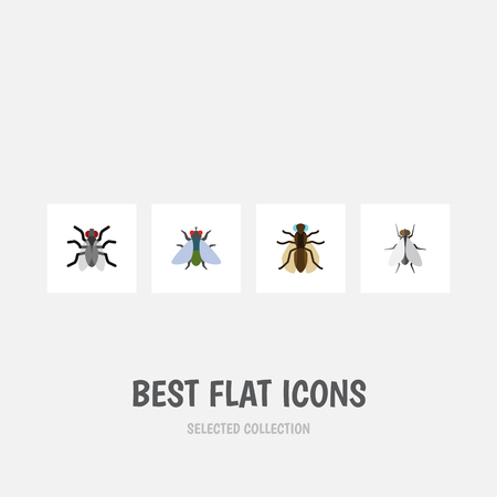 Flat Icon Fly Set Of Hum, Fly, Mosquito And Other Vector Objects Illustration