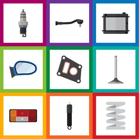 Flat Icon Auto Set van ingangstechnologie, pakking, krukas en andere vectorobjecten. Bevat ook verpakking, segment, veerelementen.