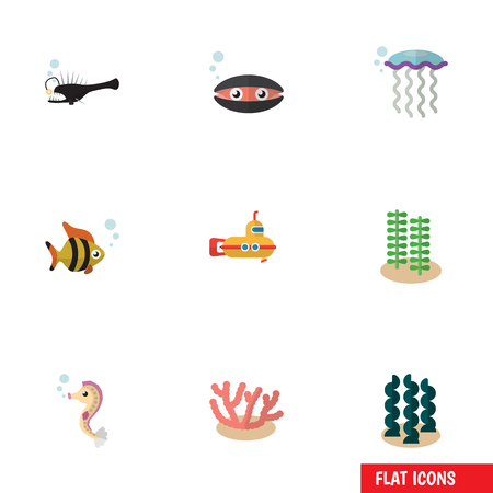 Flat Icon Nature Set Of Seafood, Algae, Hippocampus And Other Vector Objects. Also Includes Sea, Submarine, Algae Elements.