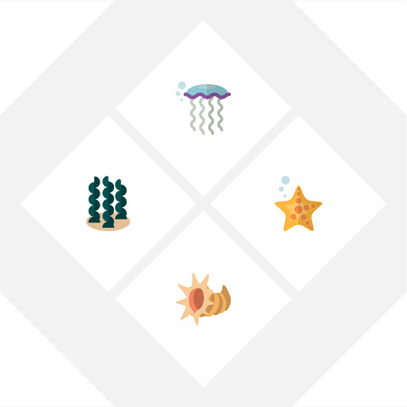 Flat Icon Nature Set Of Sea Star, Seashell, Medusa And Other Vector Objects