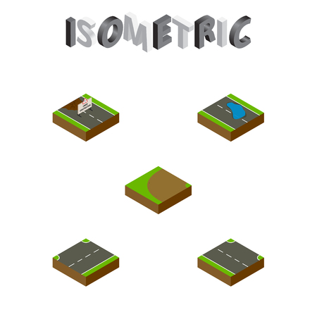 Isometric Road Set Of Rightward, Repairs, Turning And Other Vector Objects. Also Includes Up, Repairs, Puddle Elements. Ilustrace